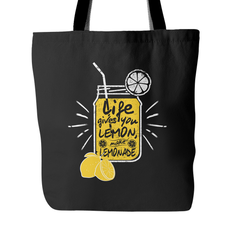 Vegan Love Life Gives You Lemon Tote Bag (2 colors)-Unisex Tote Bag-Vegan Love-Unicorn Goods