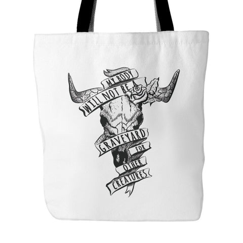 Vegan Love No Graveyard Tote Bag (2 colors)-Unisex Tote Bag-Vegan Love-Unicorn Goods
