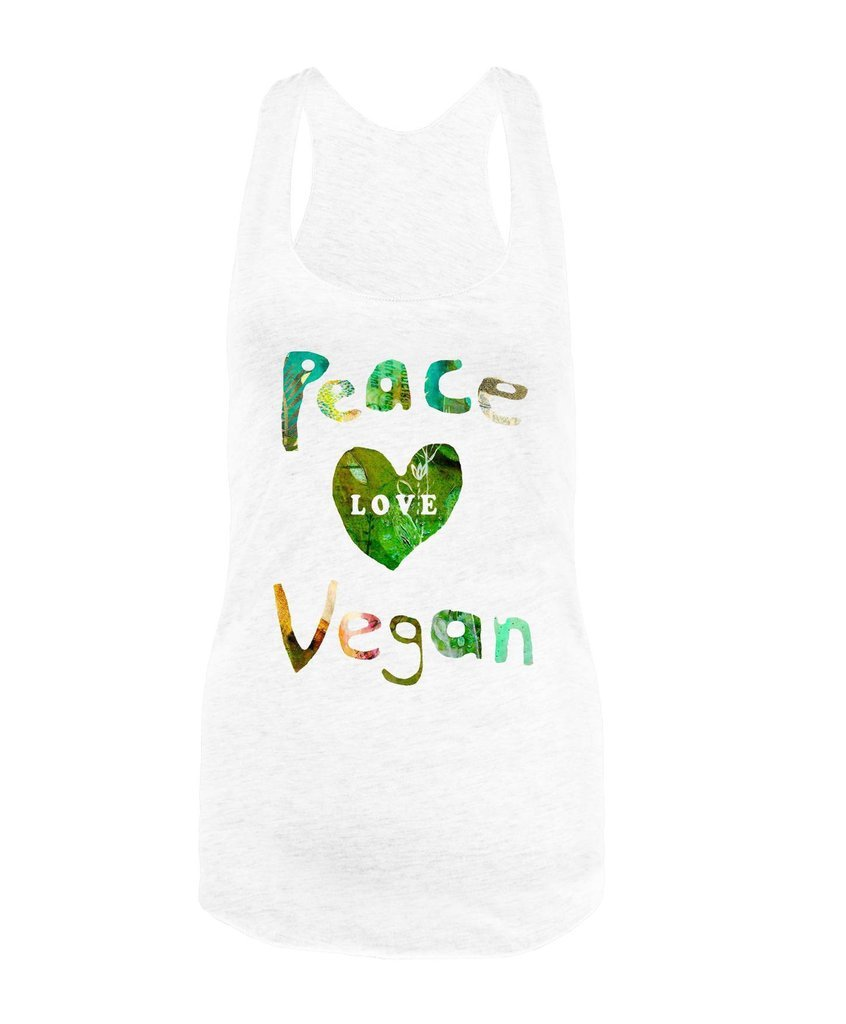 Vegan Love Peace Love Vegan Tank Top (6 colors)-Womens Tank Top-Vegan Love-Unicorn Goods