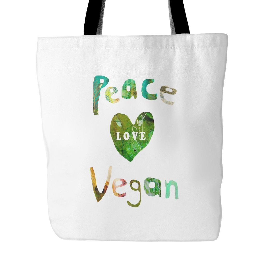 Vegan Love Peace Love Vegan Tote Bag (2 colors)-Unisex Tote Bag-Vegan Love-Unicorn Goods