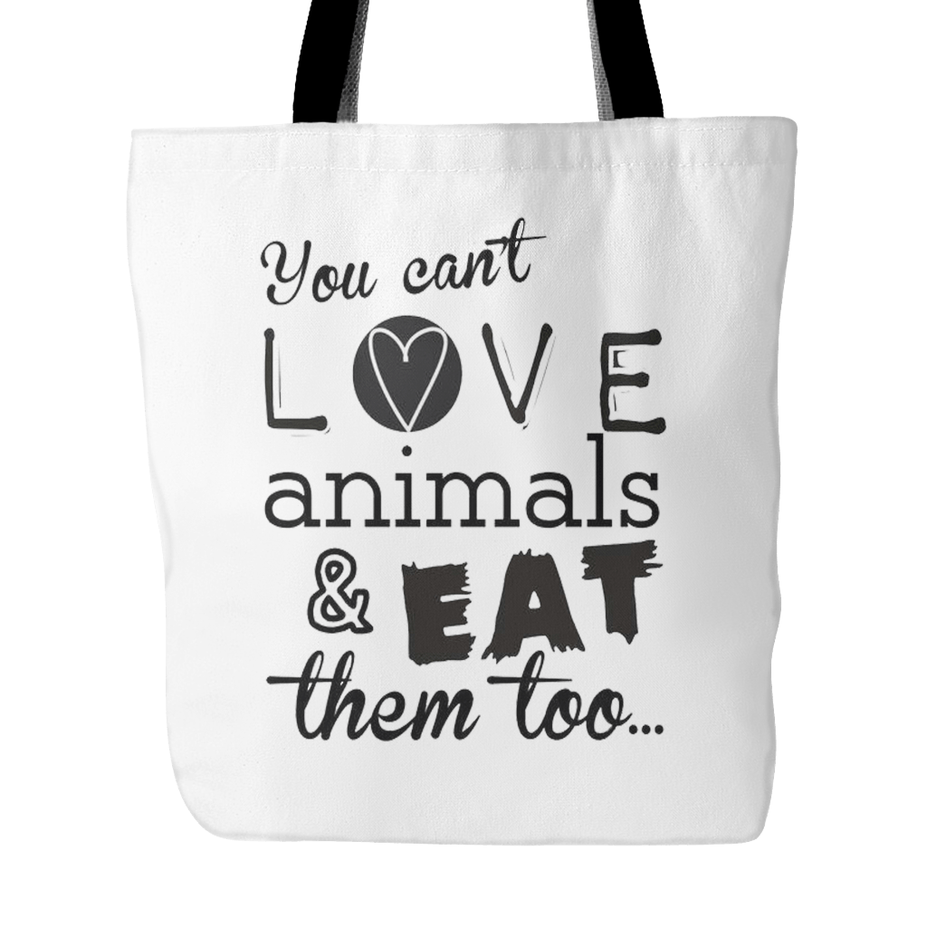Vegan Love You Can't Love Animals And Eat Them Tote Bag-Unisex Tote Bag-Vegan Love-Unicorn Goods