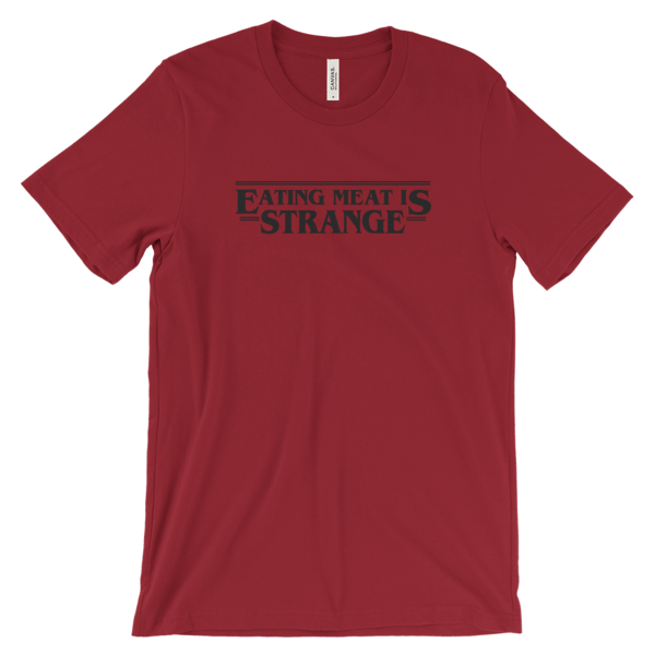 Veganized World Eating Meat Is Strange Shirt in Red-Unisex T-shirt-Veganized World-Unicorn Goods