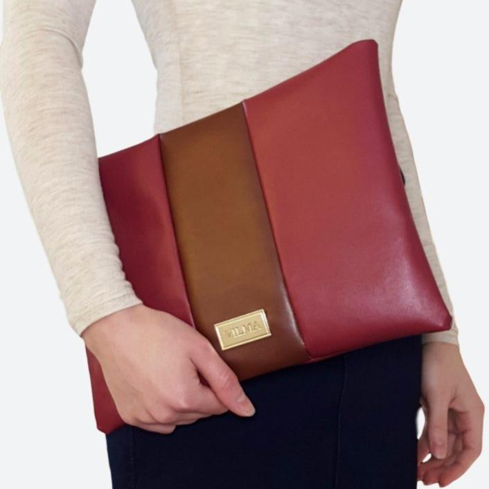 Vilma Clutch Bag in Burgundy & Brown-Womens Clutch-Vilma-Unicorn Goods