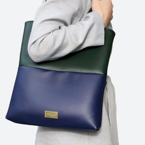 Vilma Colour Block Minimalist Tote Bag in Deep Green & Royal Blue-Womens Tote-Vilma-Unicorn Goods