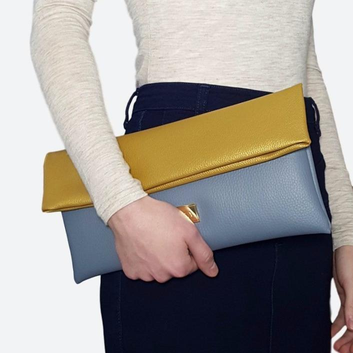 Vilma Fold-Over Clutch Bag in Gold & Grey-Womens Clutch-Vilma-Unicorn Goods