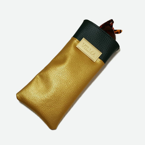 Vilma Glasses Case in Gold & Green-Womens Glasses-Vilma-Unicorn Goods