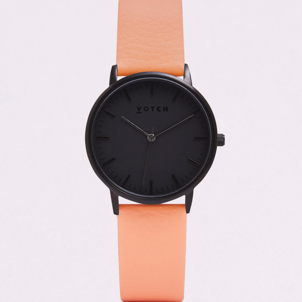 Votch Small All Black Face with Coral Strap-Unisex Watch-Votch-Unicorn Goods