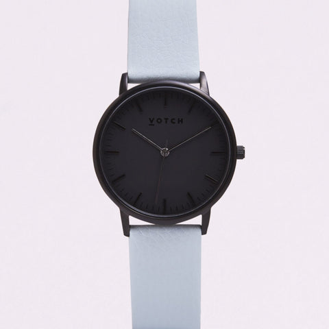 Votch Small All Black Face with Light Blue Strap-Unisex Watch-Votch-Unicorn Goods