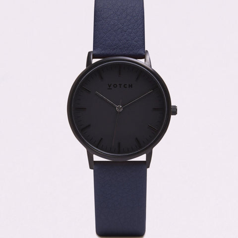 Votch Small All Black Face with Navy Strap-Unisex Watch-Votch-Unicorn Goods
