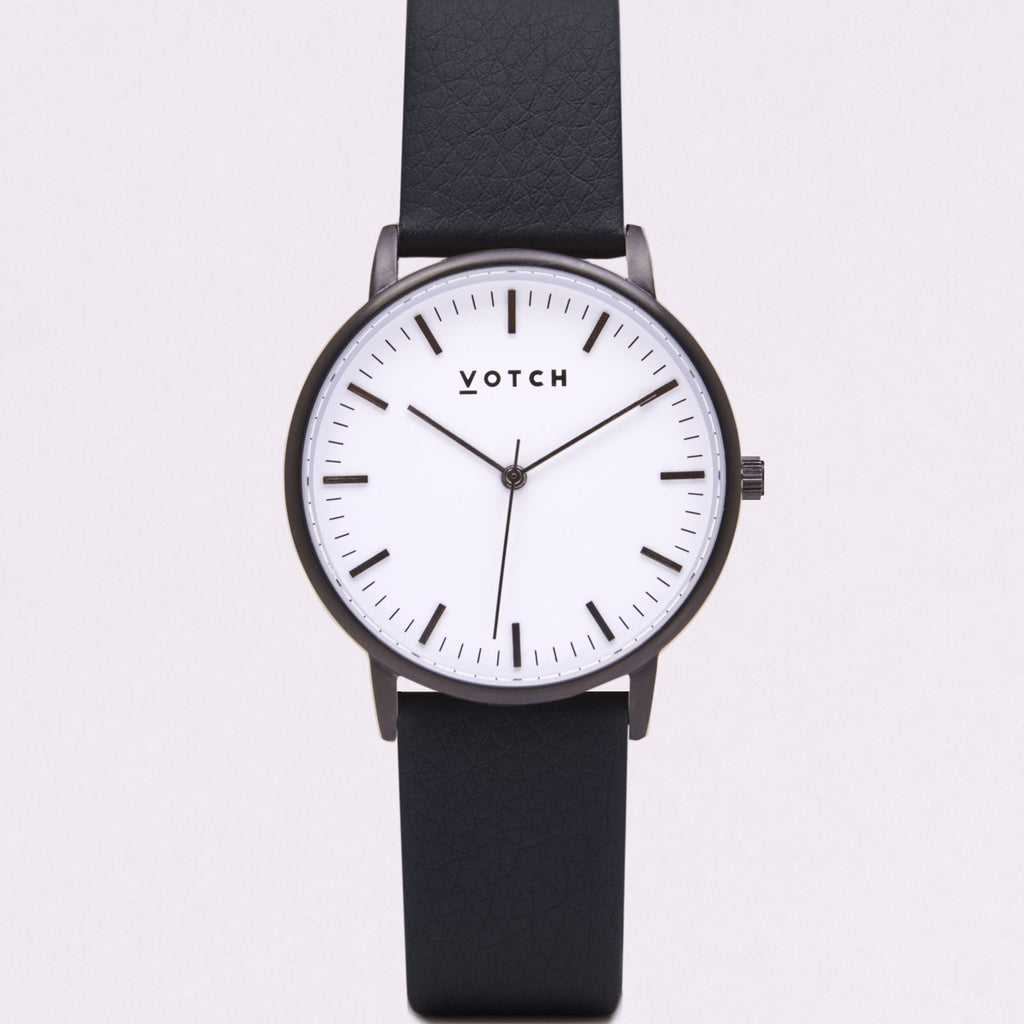 Votch Small Black and White Face with Black Strap-Unisex Watch-Votch-Unicorn Goods