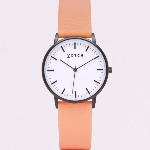 Votch Small Black and White Face with Coral Strap-Unisex Watch-Votch-Unicorn Goods