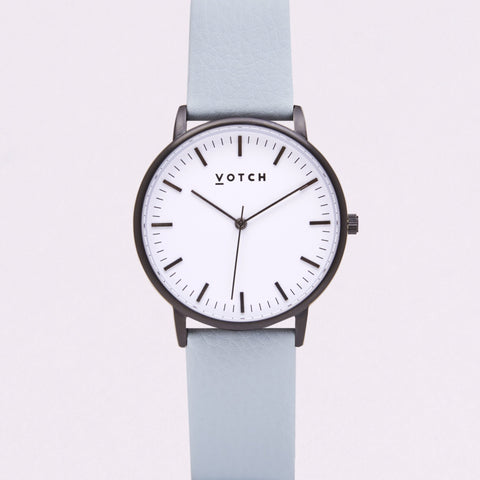 Votch Small Black and White Face with Light Blue Strap-Unisex Watch-Votch-Unicorn Goods
