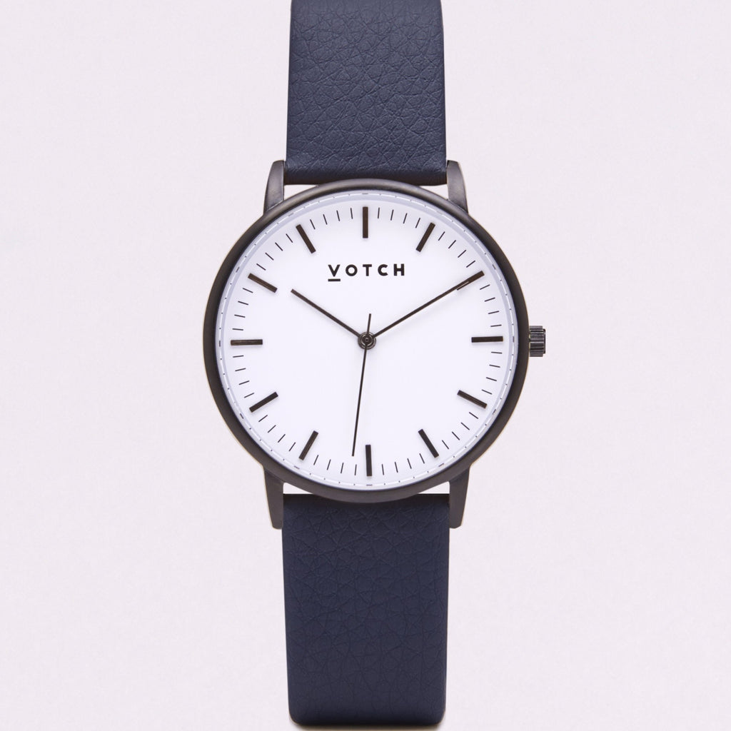 Votch Small Black and White Face with Navy Strap-Unisex Watch-Votch-Unicorn Goods