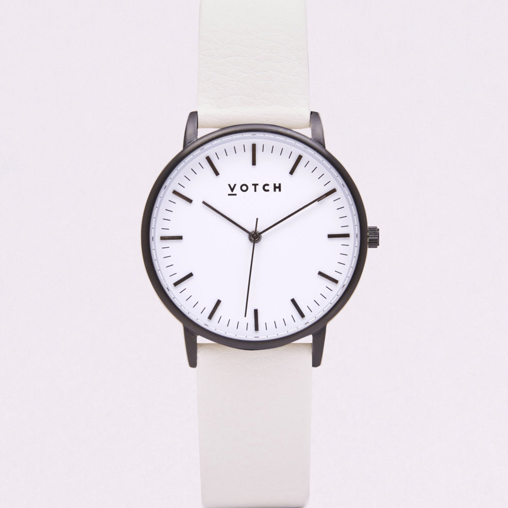 Votch Small Black and White Face with Off White Strap-Unisex Watch-Votch-Unicorn Goods