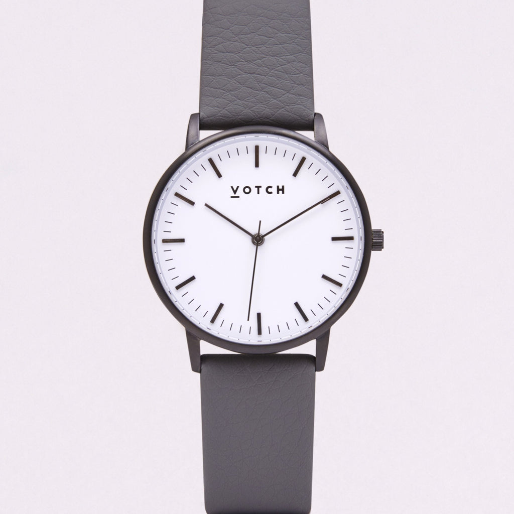 Votch Small Black and White Face with Slate Grey Strap-Unisex Watch-Votch-Unicorn Goods