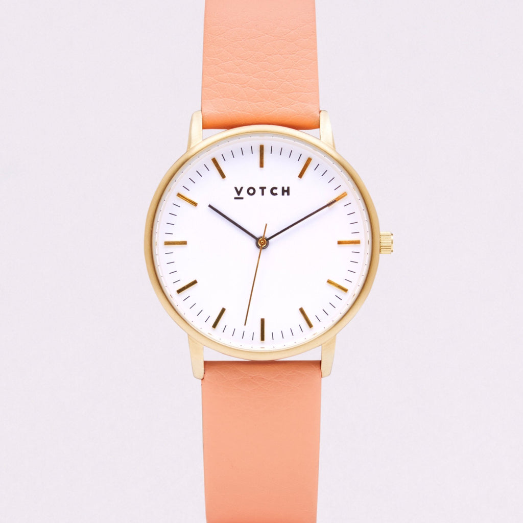 Votch Small Gold Face with Coral Strap-Unisex Watch-Votch-Unicorn Goods