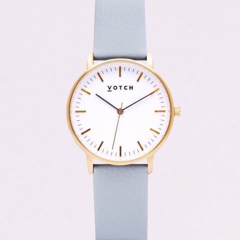 Votch Small Gold Face with Light Blue Strap-Unisex Watch-Votch-Unicorn Goods