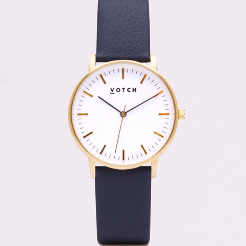Votch Small Gold Face with Navy Strap-Unisex Watch-Votch-Unicorn Goods