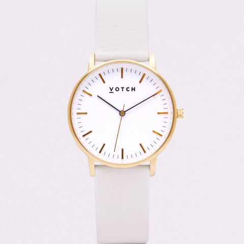 Votch Small Gold Face with Off White Strap-Unisex Watch-Votch-Unicorn Goods
