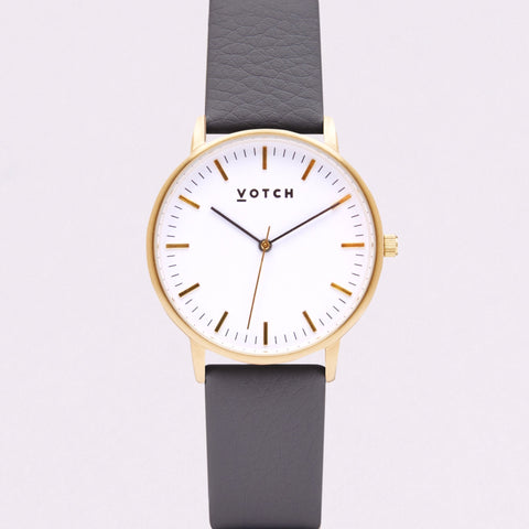 Votch Small Gold Face with Slate Grey Strap-Unisex Watch-Votch-Unicorn Goods
