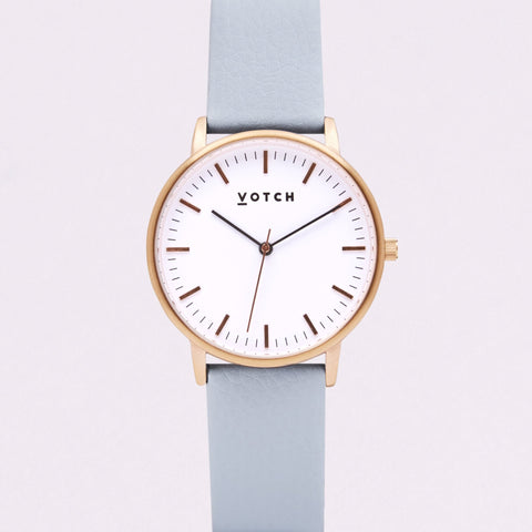 Votch Small Rose Gold Face with Light Blue Strap-Unisex Watch-Votch-Unicorn Goods