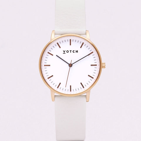 Votch Small Rose Gold Face with Off White Strap-Unisex Watch-Votch-Unicorn Goods