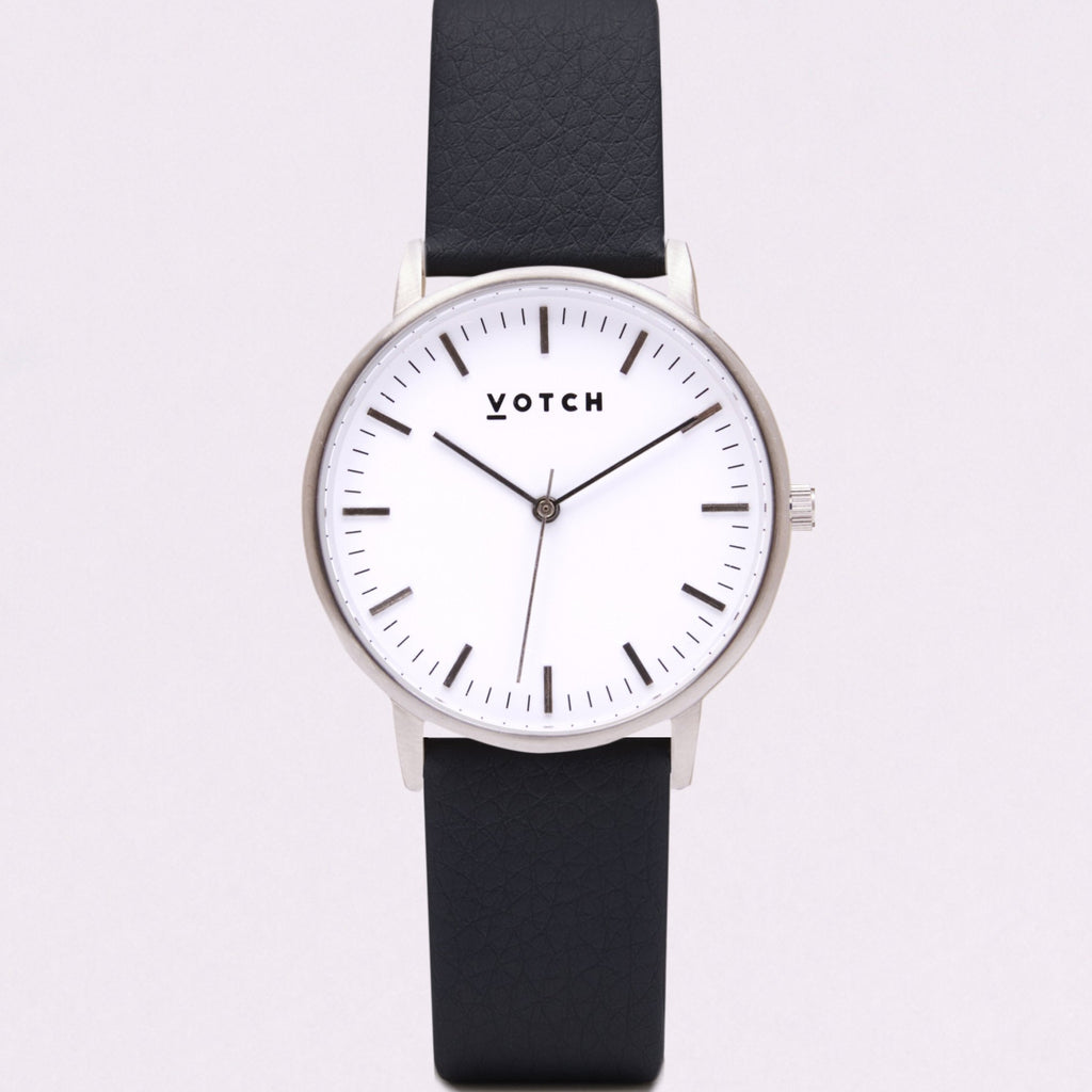 Votch Small Silver Face with Black Strap-Unisex Watch-Votch-Unicorn Goods