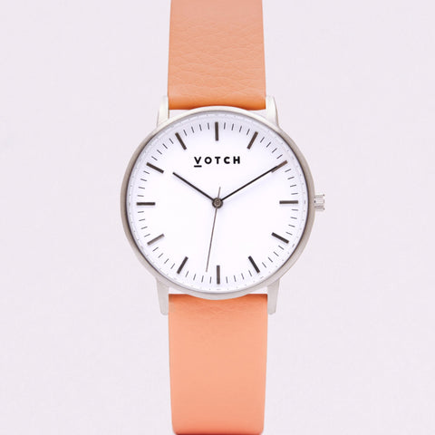 Votch Small Silver Face with Coral Strap-Unisex Watch-Votch-Unicorn Goods