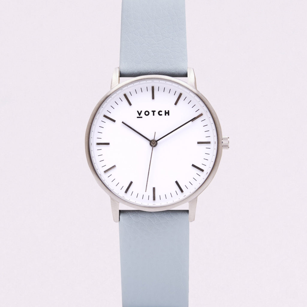 Votch Small Silver Face with Light Blue Strap-Unisex Watch-Votch-Unicorn Goods