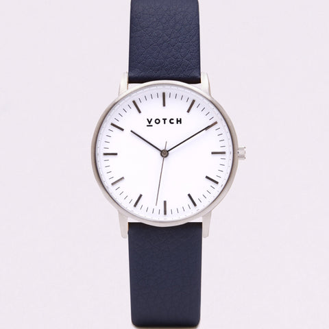 Votch Small Silver Face with Navy Strap-Unisex Watch-Votch-Unicorn Goods