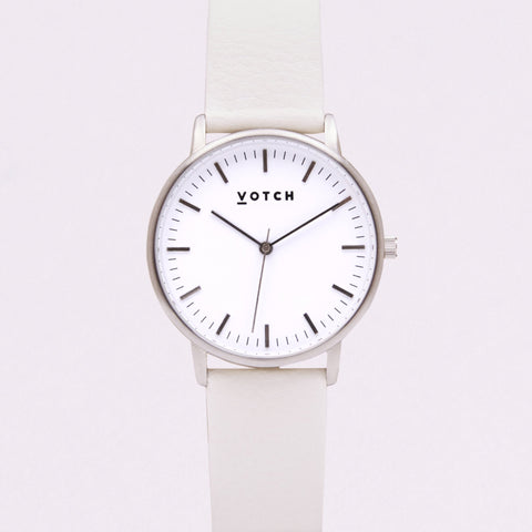 Votch Small Silver Face with Off White Strap-Unisex Watch-Votch-Unicorn Goods