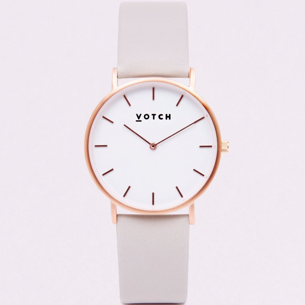 Votch Watch in Light Grey and Rose Gold-Unisex Watch-Votch-Unicorn Goods