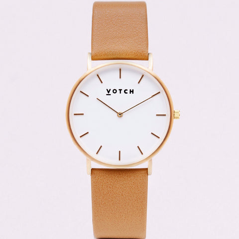 Votch Watch in Tan and Gold-Unisex Watch-Votch-Unicorn Goods