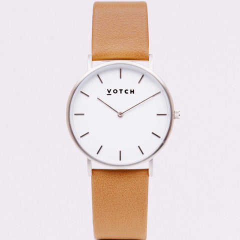 Votch Watch in Tan and Silver-Unisex Watch-Votch-Unicorn Goods