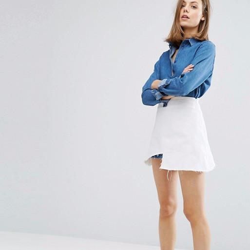 Waven Ina Denim Skirt with Raw Step Hem-Womens Skirt-ASOS-Unicorn Goods