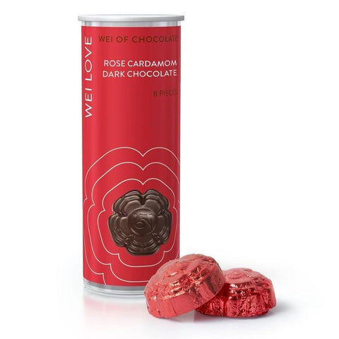 Wei of Chocolate 74% Dark Chocolate with Rose Cardamom - Tube of 8 Pieces-Chocolate-Wei of Chocolate-Unicorn Goods