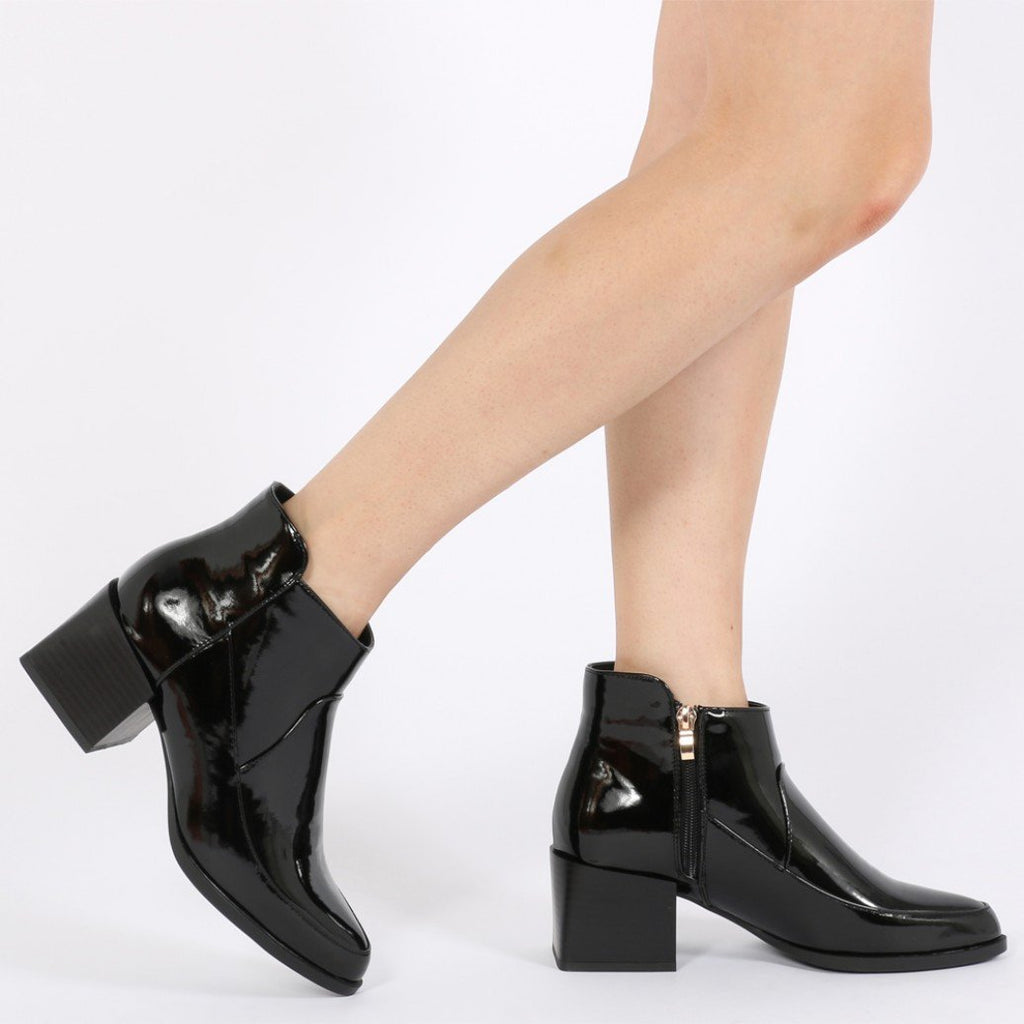 Wendy Cubed Heel Ankle Boots in Black Patent-Womens Booties-Public Desire-Unicorn Goods