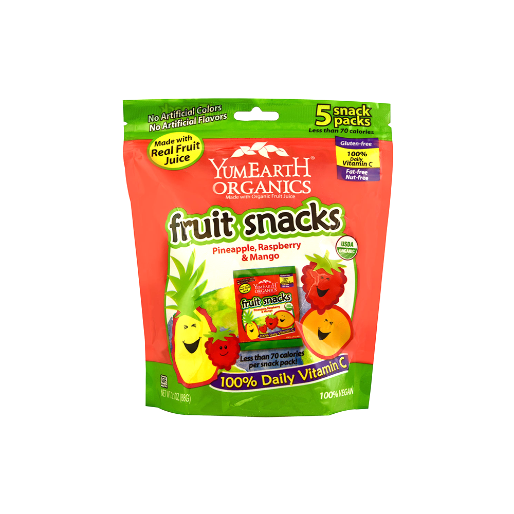 Yummy Earth Organic Fruit Snacks - Pineapple, Raspberry, and Mango (5 snack packs)-Candy-Food-Unicorn Goods