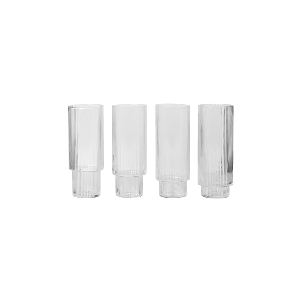 Ferm Living Tall Ripple Glasses (Set of 4), Ferm Living, Huset | Modern Scandinavian Design