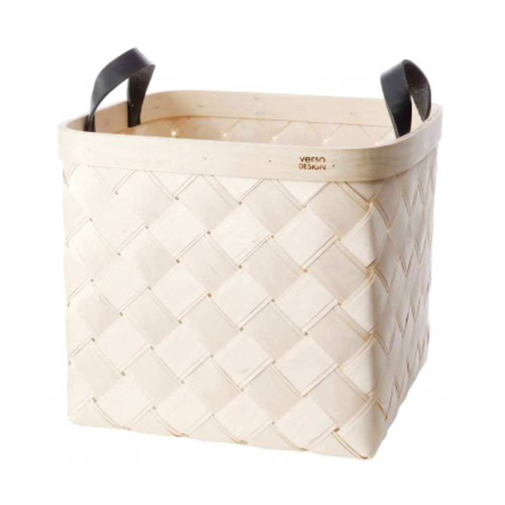 Verso Lastu Birch Basket With Black Leather Handles - Huset Shop