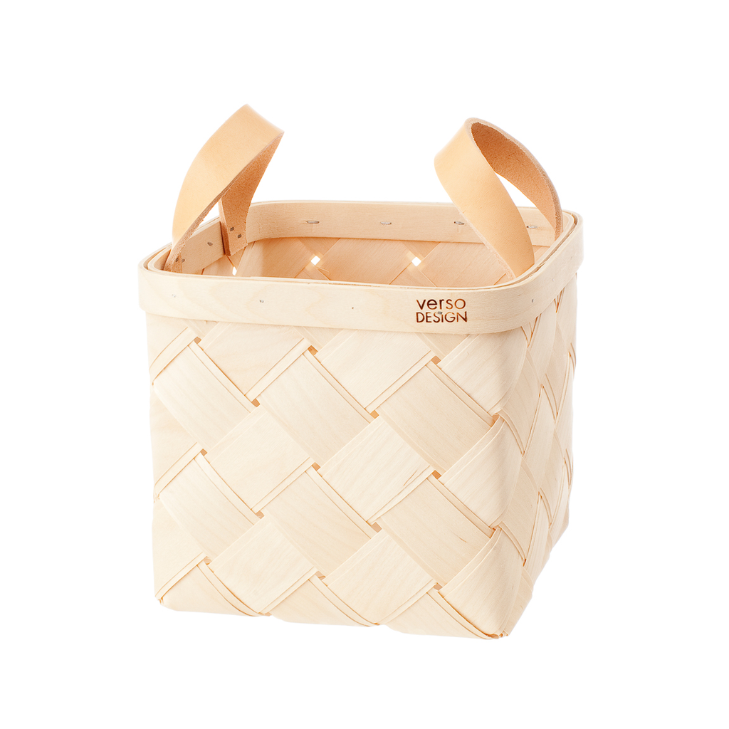 Verso Lastu Birch Basket With Natural Leather Handles - Huset Shop - 2