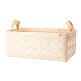 Verso Lastu Birch Basket With Natural Leather Handles - Huset Shop - 5