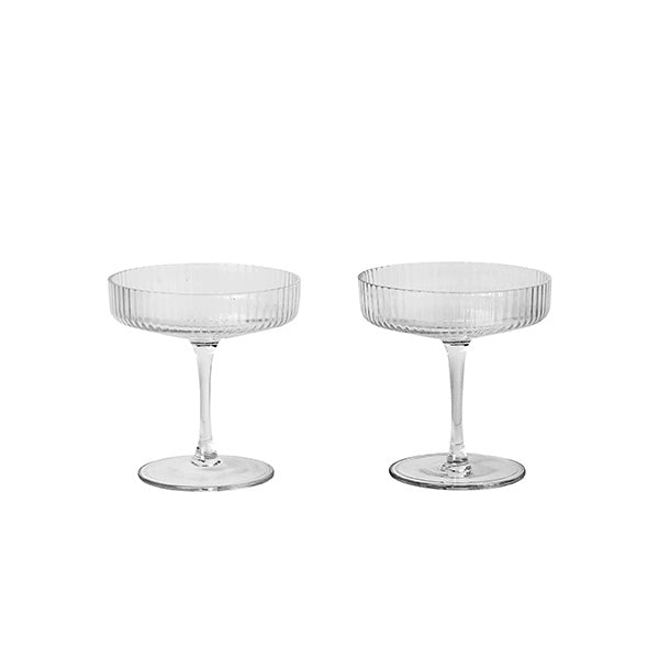 Ferm Living Ripple Champagne Saucers (Set of 2), Ferm Living, Huset | Modern Scandinavian Design