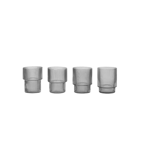 Ferm Living Smoked Grey Ripple Glasses (Set of 4)
