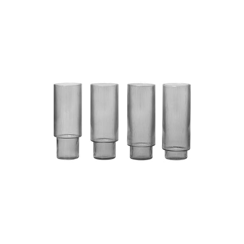 Ferm Living Smoked Grey Tall Ripple Glasses (Set of 4)