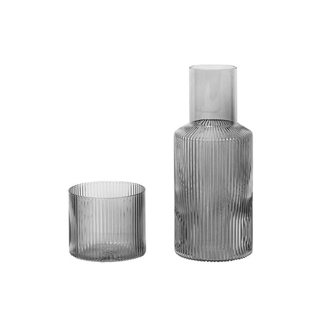 Ferm Living Smoked Grey Ripple Carafe Set Small