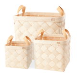 Verso Lastu Birch Basket With Natural Leather Handles - Huset Shop - 1