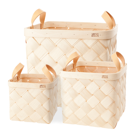 Verso Lastu Birch Basket With Natural Leather Handles