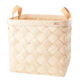 Verso Lastu Birch Basket With Natural Leather Handles - Huset Shop - 4