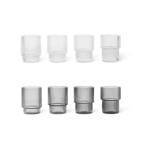 Ferm Living Small Ripple Glasses - Set of 4